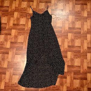 Polka dot button down front slit dress